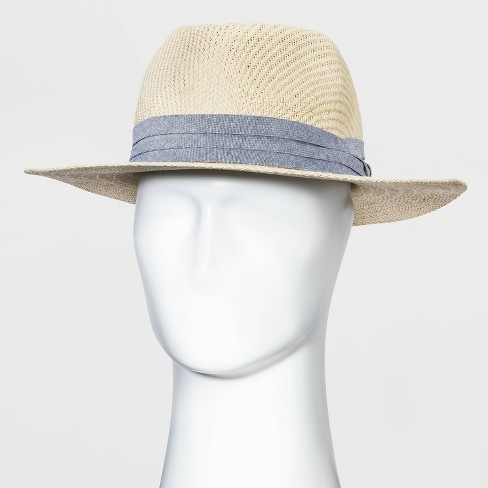 Men's Panama Straw Hat with Chambray Band - Goodfellow & Co™ Natural - image 1 of 2