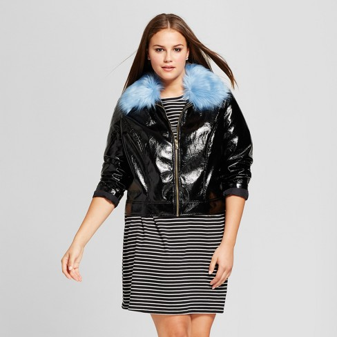 5610c0cc2 Women's Plus Size Cropped Bomber Flight Jacket - Who What Wear™ Black 3X