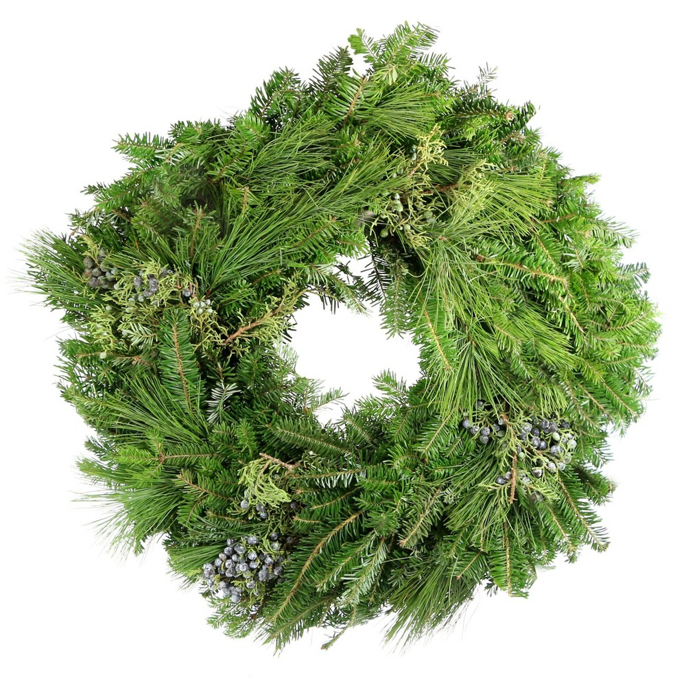 "Image of ""24"""" Live Fresh Cut White Pine/Blueberry Juniper Wreath - Cottage Hill"""