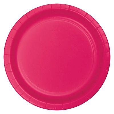 "Hot Magenta Pink 9"" Paper Plates - 24ct"