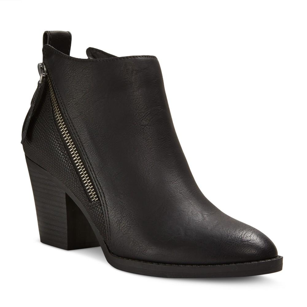 Women's Dv Jameson Wide Width Double Side Zip Booties - Black 7W, Size: 7 Wide