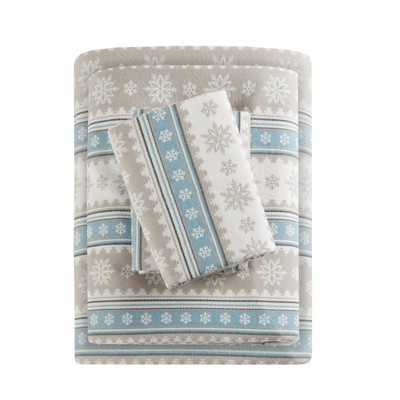 Queen Patterned Flannel Sheet Set Blue Snowflake