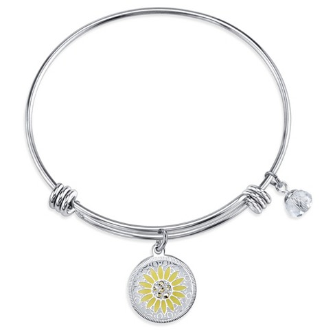 "Women's Stainless Steel You are my sunshine Enamel expandable Bracelet - Silver (8"") - image 1 of 2"