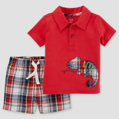 Baby Boys' 2pc Chameleon Polo Set - Just One You™ Made by Carter's Red 12M