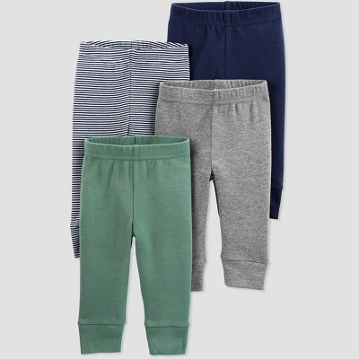 Baby Boys' 4pk Solid and Striped Pull-On Pants - Just One You® made by carter's Green/Gray/Blue 3M