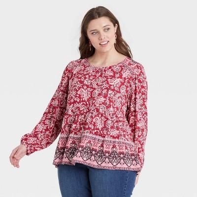 Women's Floral Print Long Sleeve Top - Knox Rose™