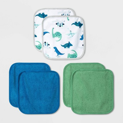 Baby Boys' 6pk Dino Washcloth Set - Cloud Island™ Blue