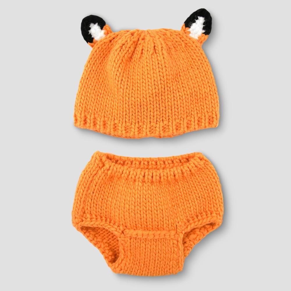 Baby's Fox Hat & Diaper Cover Set - Cloud Island Orange, Infant Unisex, Apricot Ice