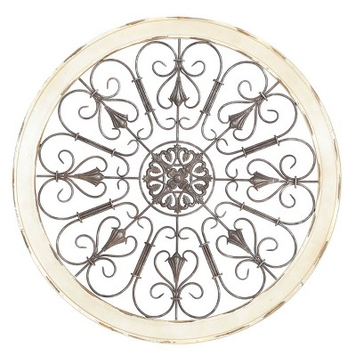 """36"""" x 36"""" Large Round Distressed White Wood and Metal Wall Decor with Tudor Rose and Scrollwork Vintage Style - Olivia & May"""