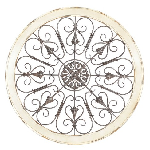 Large Round Distressed White Wood And, Round White Wood Wall Decor