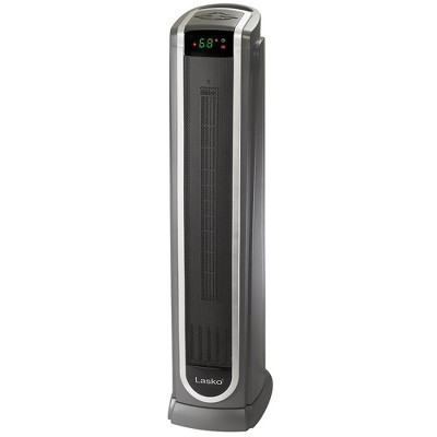 Lasko 5572 Portable Electric 1500 Watt Room Oscillating Ceramic Tower Space Heater with Logic Center Remote, Adjustable Thermostat, and Timer