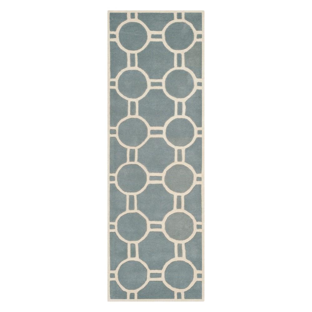 23X7 Geometric Tufted Runner Blue/Ivory - Safavieh Best