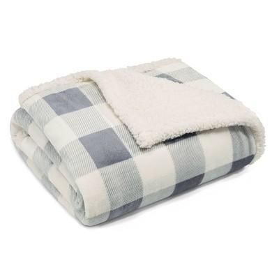 Mountain Plaid Throw Blanket Silver - Eddie Bauer