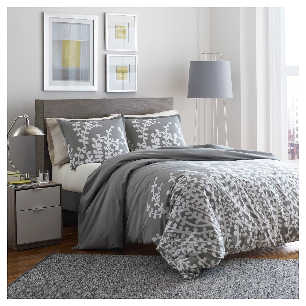Image of Branches Comforter And Sham Set Full/Queen Gray - City Scene