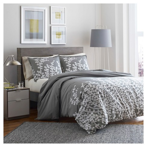 Branches Duvet Cover Set Full/Queen Gray - City Scene - image 1 of 3