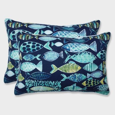 2pk Oversize Hooked Lagoon Rectangular Throw Pillows Blue - Pillow Perfect - image 1 of 2