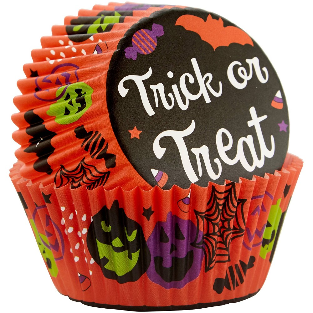 Image of Wilton 75ct Paper Trick or Treat Halloween Cupcake Liners