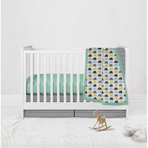 Elephants Mint Yellow Gray 3 Pc Crib, Yellow Gray Crib Bedding
