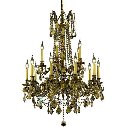 Elegant Lighting 9215D28FG-GT Rosalia 15-Light, Two-Tier Crystal Chandelier, Finished in French Gold - image 1 of 1