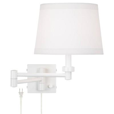 360 Lighting Modern Swing Arm Wall Lamp White Plug-In Light Fixture Hardback Drum Shade for Bedroom Bedside Living Room Reading
