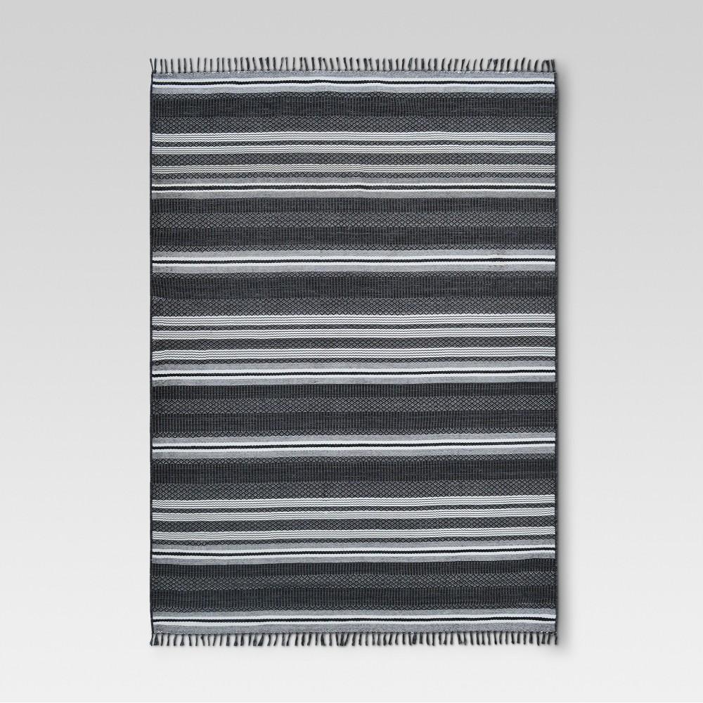 9 X 12 Global Stripe Outdoor Rug Black Threshold 8482