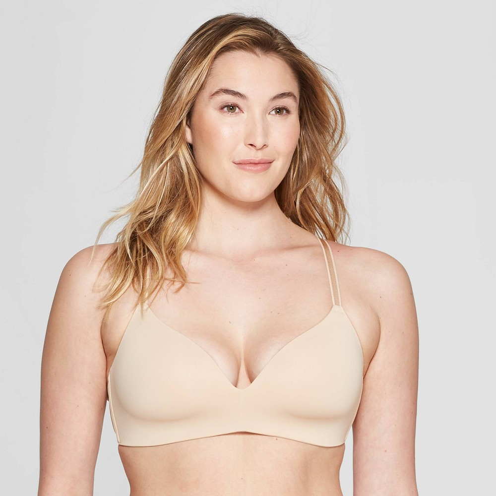 Women's Bliss Lightly Lined Wirefree Bra - Auden Soft Beige 34C