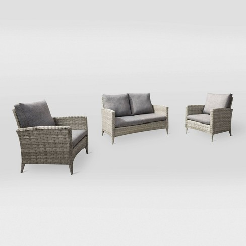 Parkview 3pc Loveseat Chair Patio Set - Light Gray - CorLiving - image 1 of 6