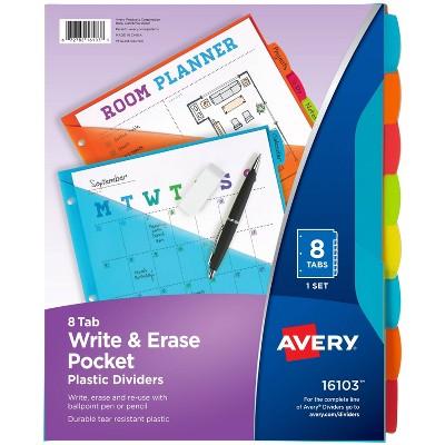 Avery 8ct Write & Erase Pocket Tab Plastic Divider Set