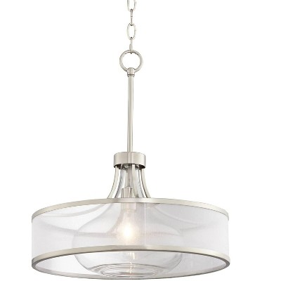 "Possini Euro Design Brushed Nickel Pendant Light 19 1/4"" Wide Modern Art Deco Silver Organza Drum Clear Glass Shade for Kitchen"