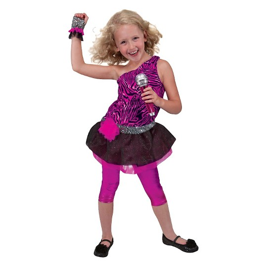 Melissa & Doug Rock Star Role Play Costume Set (4pc) - Includes Zebra-Print Dress, Microphone, Women's, Gold/Pink image number null