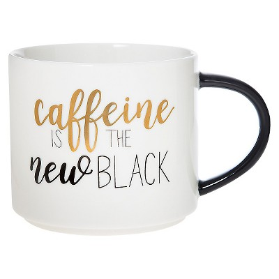 Clay Art Stackable Mug 15oz Porcelain  Caffeine is the new black