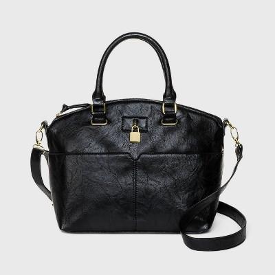 Bueno Zip Closure Satchel Handbag - Black