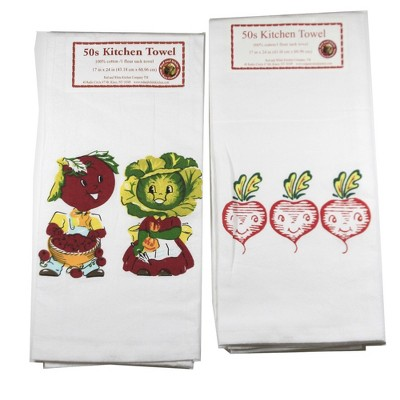 "Tabletop 24.0"" Vegetables/Radishes Towel Set Cotton Kitchen Red And White Kitchen Company  -  Kitchen Towel"