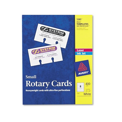 Avery Small Rotary Cards Laser/Inkjet 2 1/6 x 4 8 Cards/Sheet 400 Cards/Box 5385 - image 1 of 1