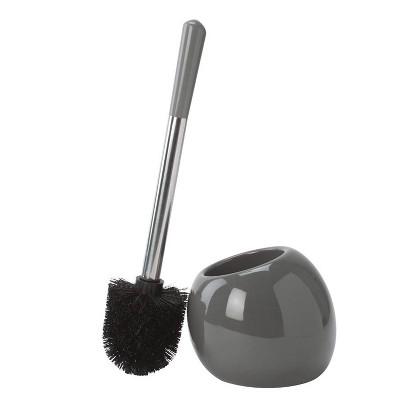 Ceramic Dome Toilet Brush & Holder Gray - Bath Bliss