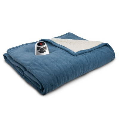 Microplush with Sherpa Electric Heated Blanket (Queen)Blue - Biddeford Blankets