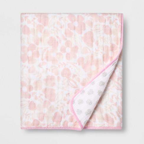 Muslin Baby Blanket Watercolor Floral - Cloud Island™ White - image 1 of 1