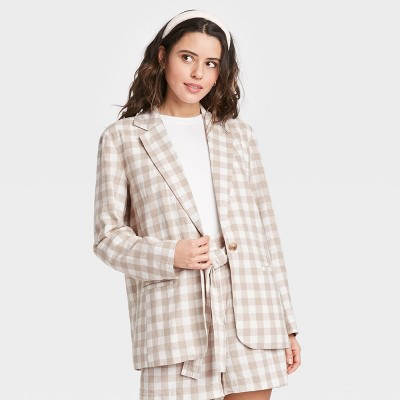 Women's Gingham Check Blazer - A New Day™ Cream