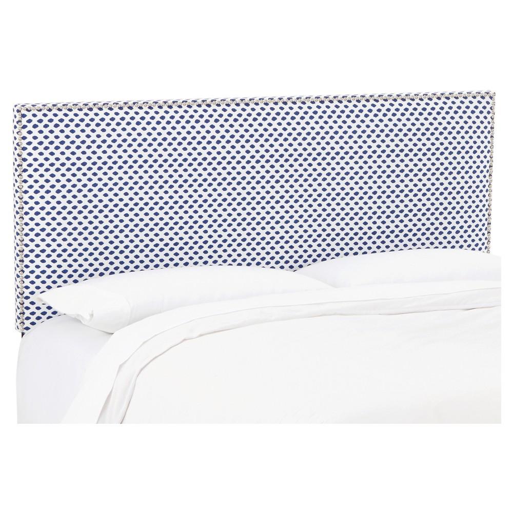 Queen Arcadia Nailbutton Patterned Headboard Sahara Midnight White Flax - Skyline Furniture