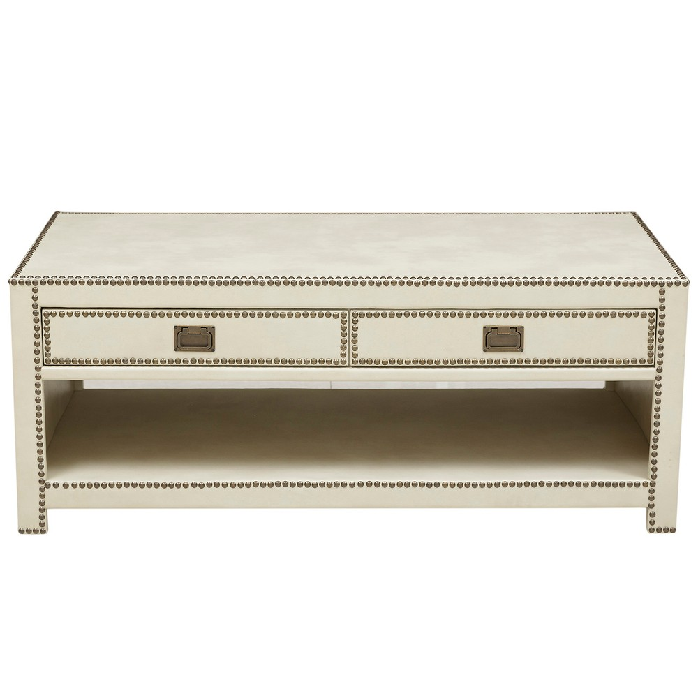 Chester Ivory Faux Leather Wrapped Trunk Style Cocktail Table - White - Pulaski