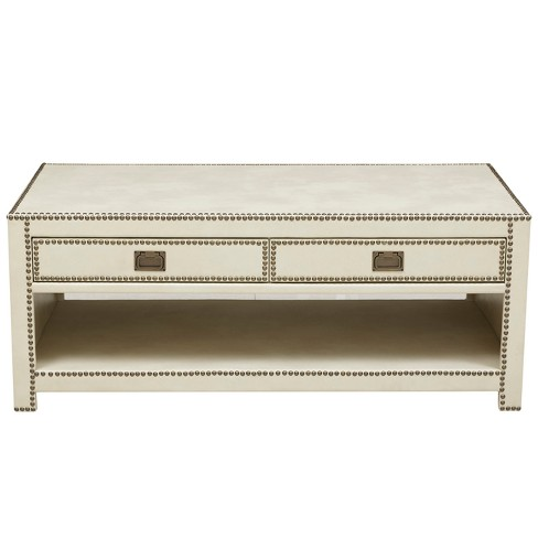 Chester Ivory Faux Leather Wrapped Trunk Style Cocktail Table - White - Pulaski - image 1 of 4