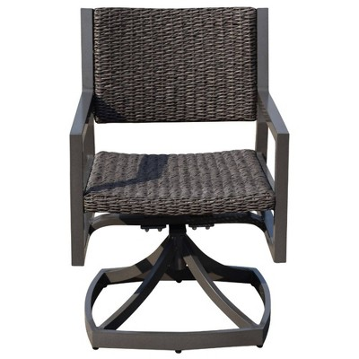 Venice 2pk Swivel Spring Dining Chairs - Gray - Courtyard Casual