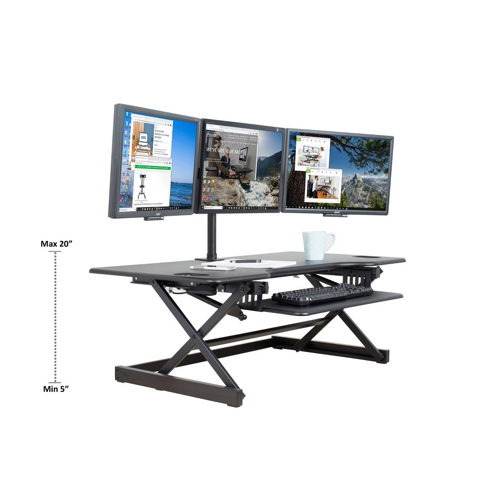 "Image of ""46"""" Height Adjustable Standing Desk Converter Bundle & Monitor Arm Black - Rocelco, Size: 46"""""""