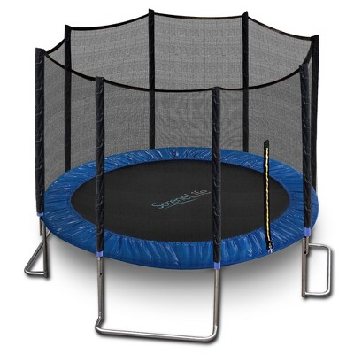 SereneLife 10 Foot Outdoor Backyard Play Trampoline and Safety Protective Dual Closure Net Enclosure for Kids Supports Weight Up to 352 Pounds, Blue