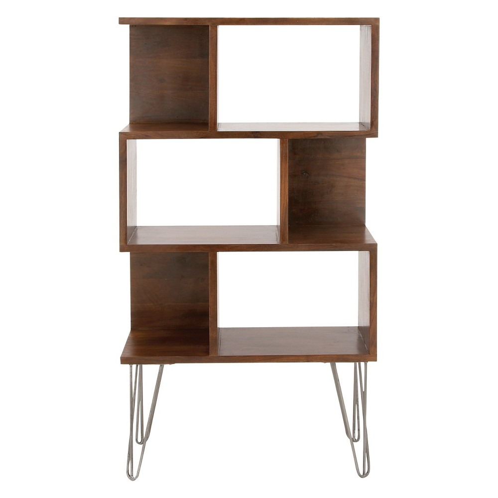 Modern reflections wood and metal book shelf, rectangular albizia wood frame with dark brown finish, three open back storages, three closed back storages, silver finished iron hairpin legs, assembly required. Perfect bookshelf for rooms with modern themes and styles. Alternately stacked storages make the shelf stylish. Gender: unisex.