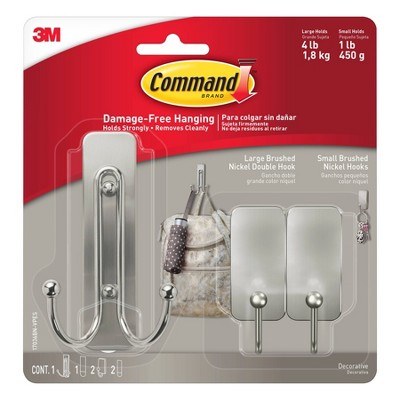 Command Large Double and Small Decorative Hooks Nickel