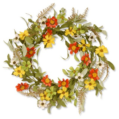 "Floral Wreath with Sunflowers - Red/Yellow (20"")"