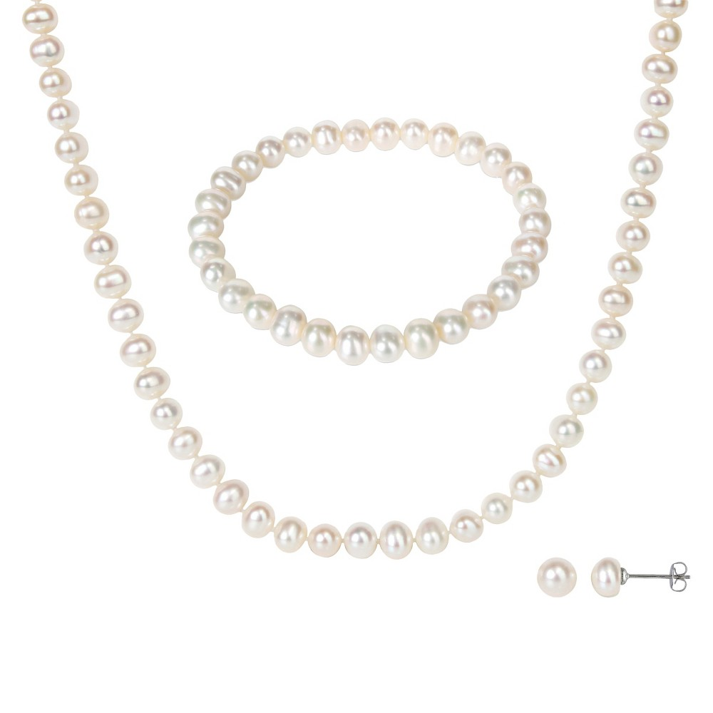3 Piece Pearl Earring Necklace and Bracelet Set - White