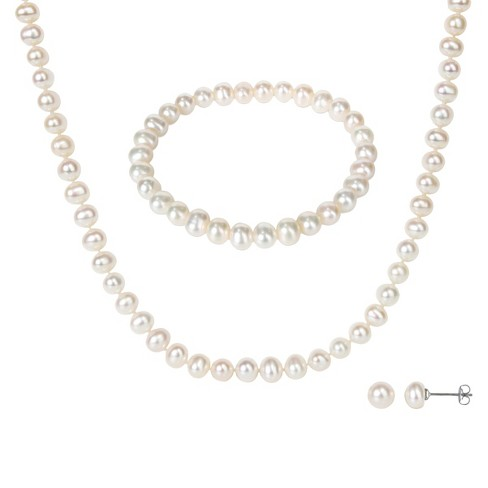 3 Piece Freshwater Pearl Earring Necklace and Bracelet Set - White - image 1 of 1