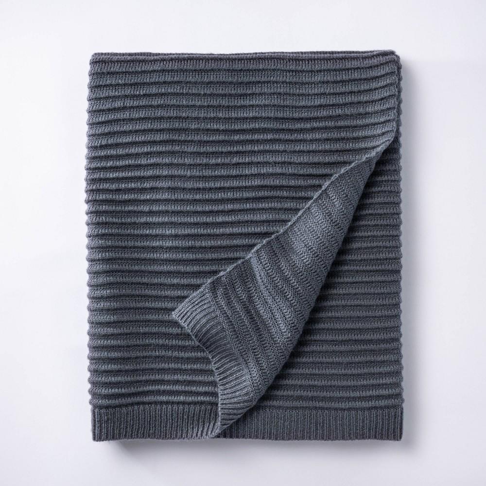 Rib Knit Throw Blanket Blue Threshold 8482 Designed With Studio Mcgee